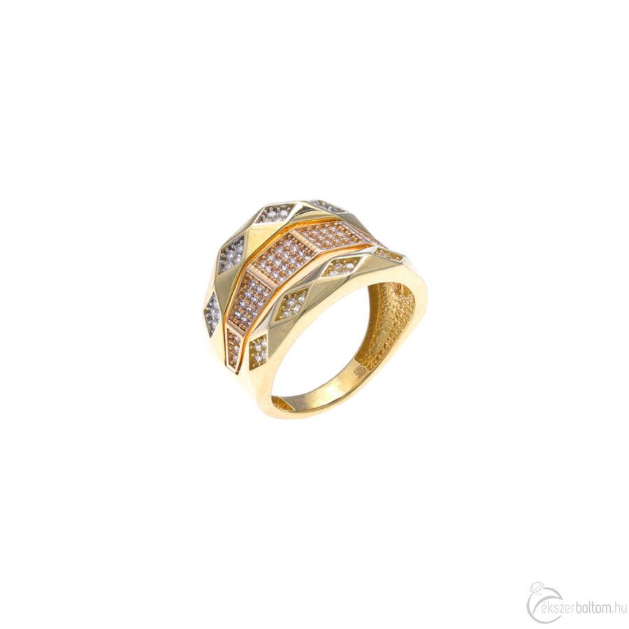 """""""Alhambra"""" sárga-rozé prizmás gyűrű"""
