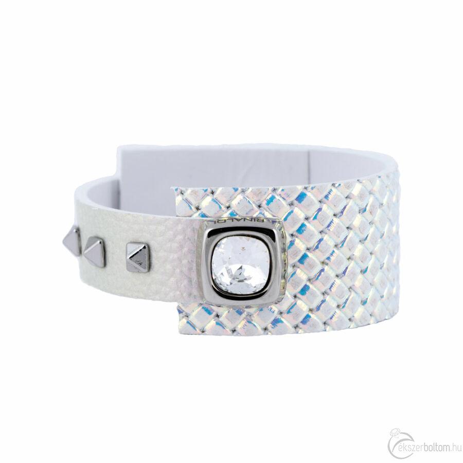 Cango & Rinaldi Cube ezüstszín fémdíszes, kristály köves, színjátszó színű karkötő