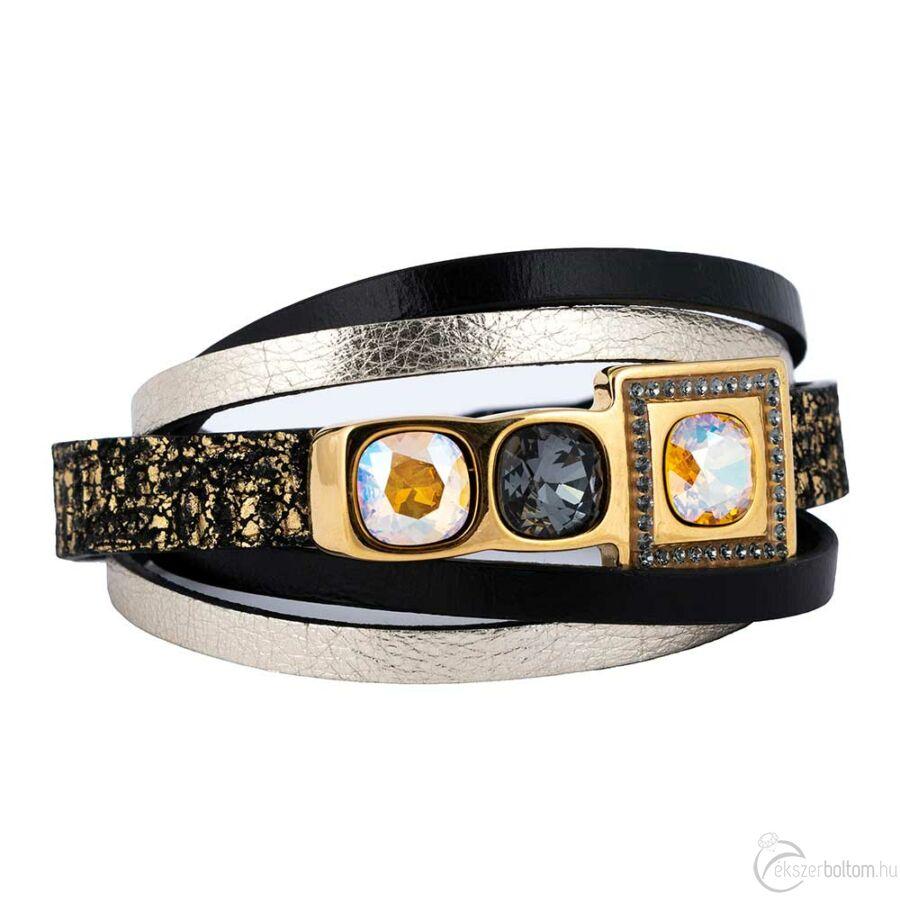 Cango & Rinaldi Cube aranyszín fémdíszes, Arany és Black Diamond köves, fekete-ezüst színű karkötő