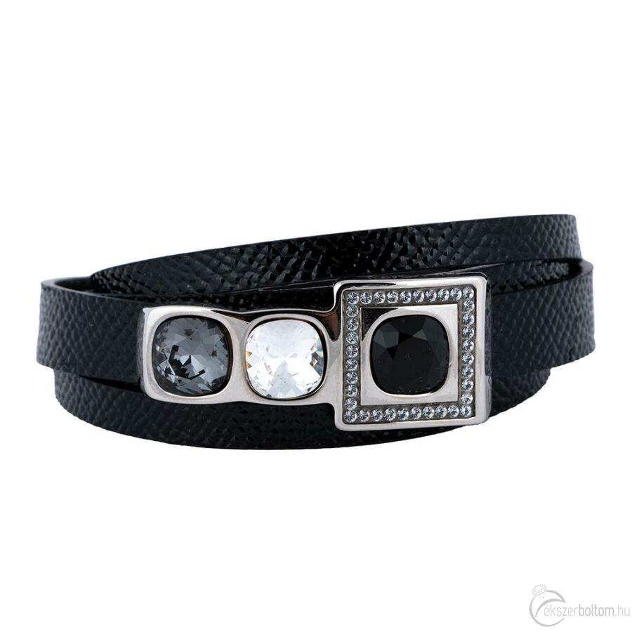 Cango & Rinaldi Cube ezüstszín fémdíszes, Jet Black, Black Diamond és kristály köves, fekete színű karkötő