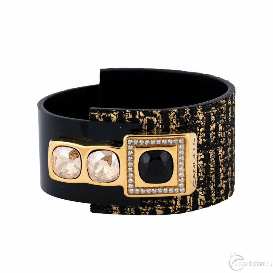 Cango & Rinaldi Cube aranyszín fémdíszes, arany és Jet Black köves, fekete-arany színű karkötő