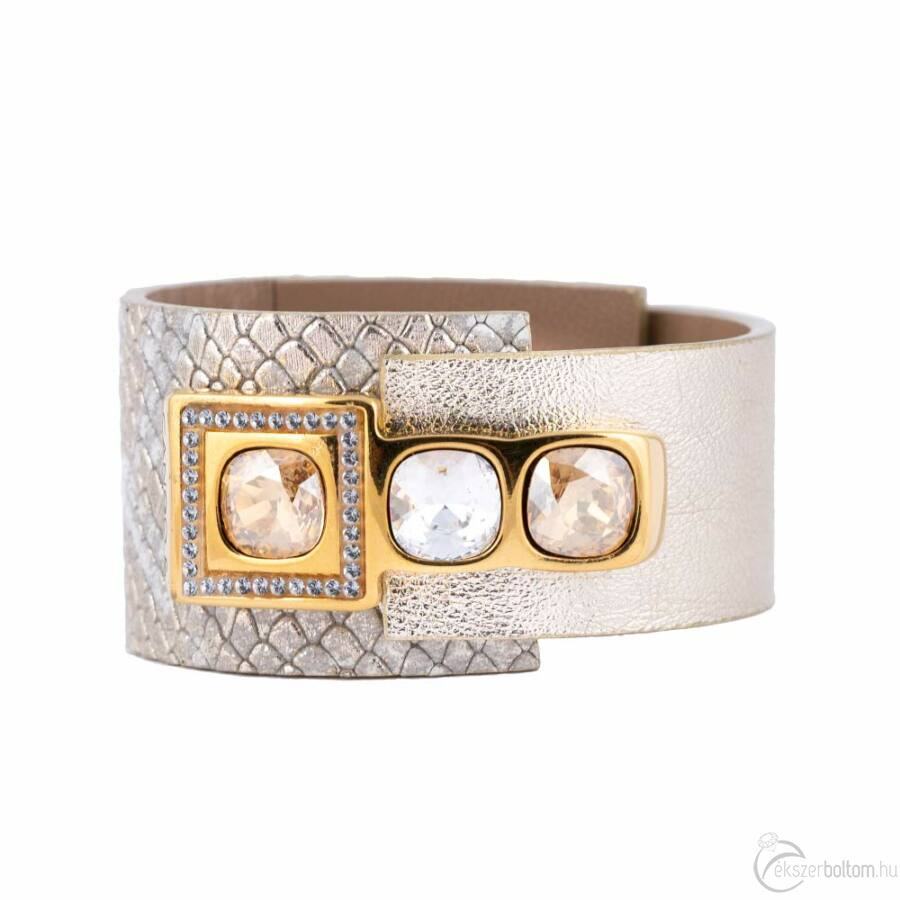 Cango & Rinaldi Cube aranyszín fémdíszes, arany és kristály köves, arany színű karkötő
