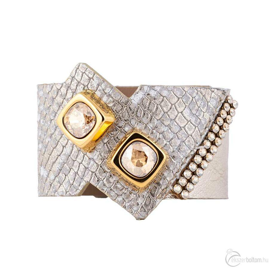 Cango & Rinaldi Cube aranyszín fémdíszes, arany köves, arany színű karkötő