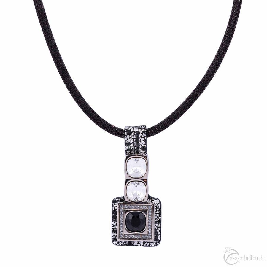 Cango & Rinaldi Cube ezüst-fekete bőrös, ezüstszín fémdíszes és láncos, kristály és Jet Black köves nyaklánc