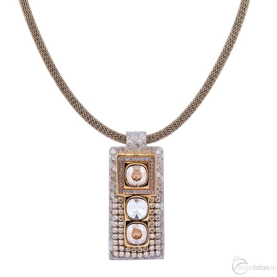 Cango & Rinaldi Cube arany bőrös, aranyszín fémdíszes és láncos, arany köves nyaklánc