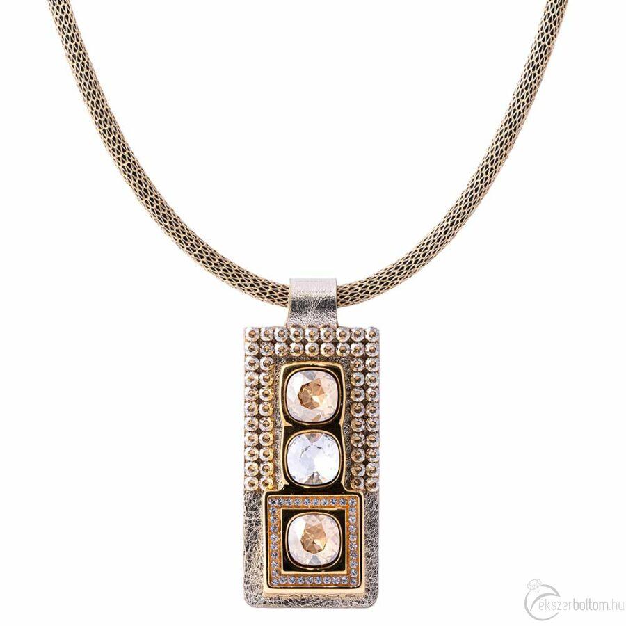 Cango & Rinaldi Cube arany bőrös, aranyszín fémdíszes és láncos, arany és kristály köves nyaklánc