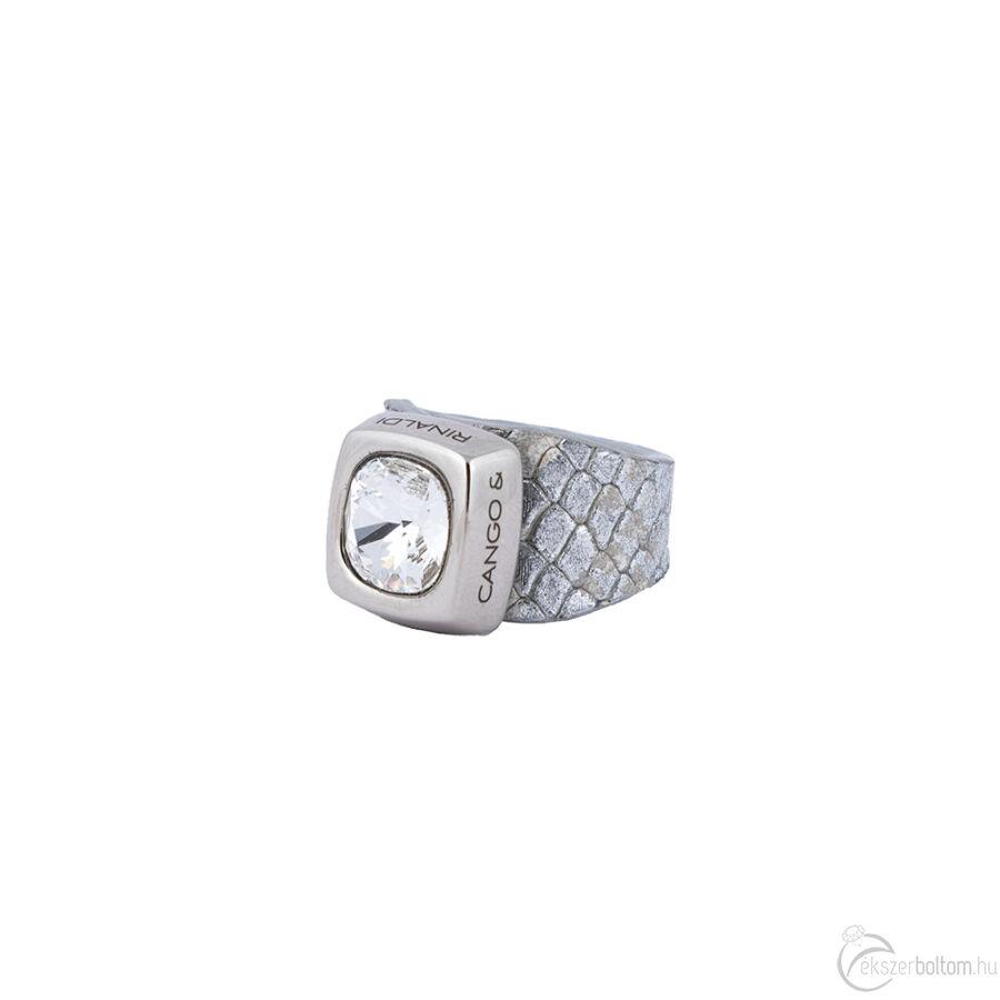 Cango & Rinaldi Cube ezüst színű gyűrű kristály kővel