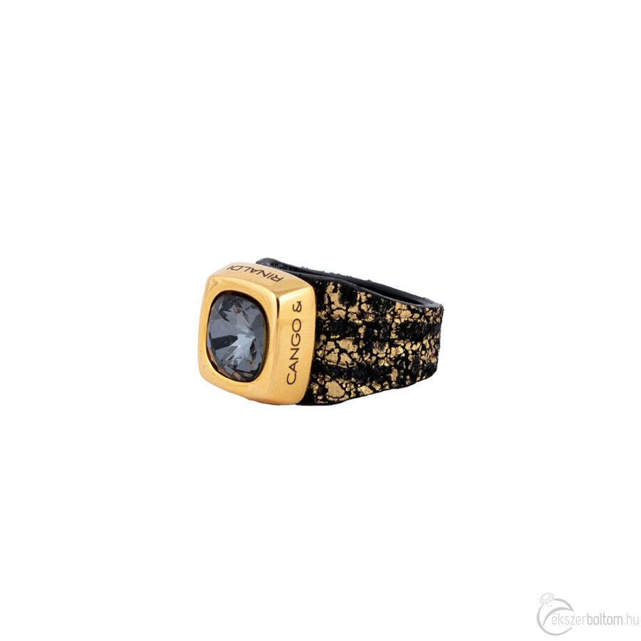 Cango & Rinaldi Cube fekete-arany színű gyűrű BD kővel
