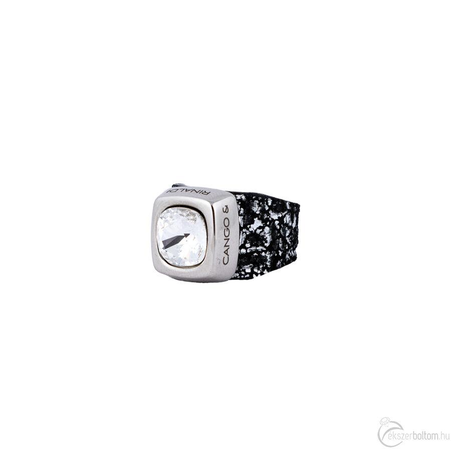 Cango & Rinaldi Cube fekete-ezüst színű gyűrű kristály kővel