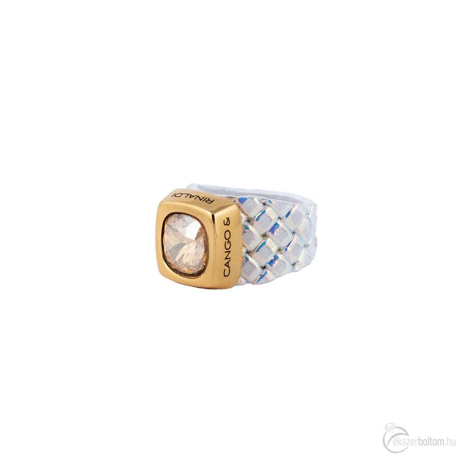 Cango & Rinaldi Cube irizáló színű gyűrű arany színű kővel