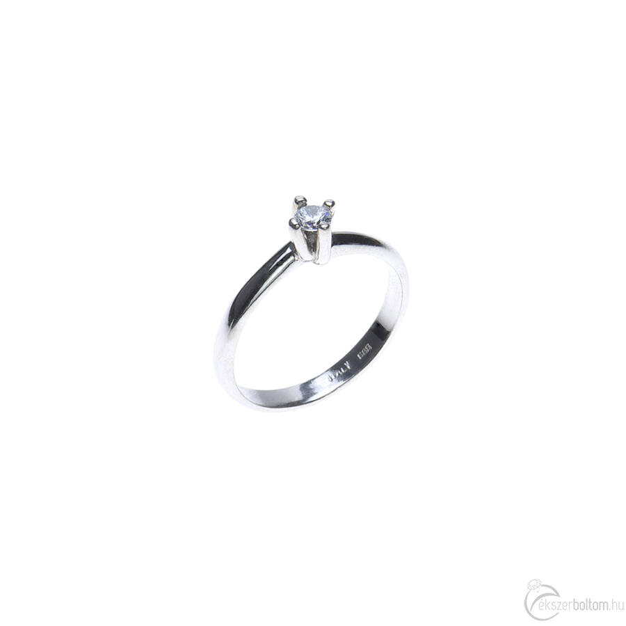 Fehér arany szoliter gyűrű négykarmos foglalattal
