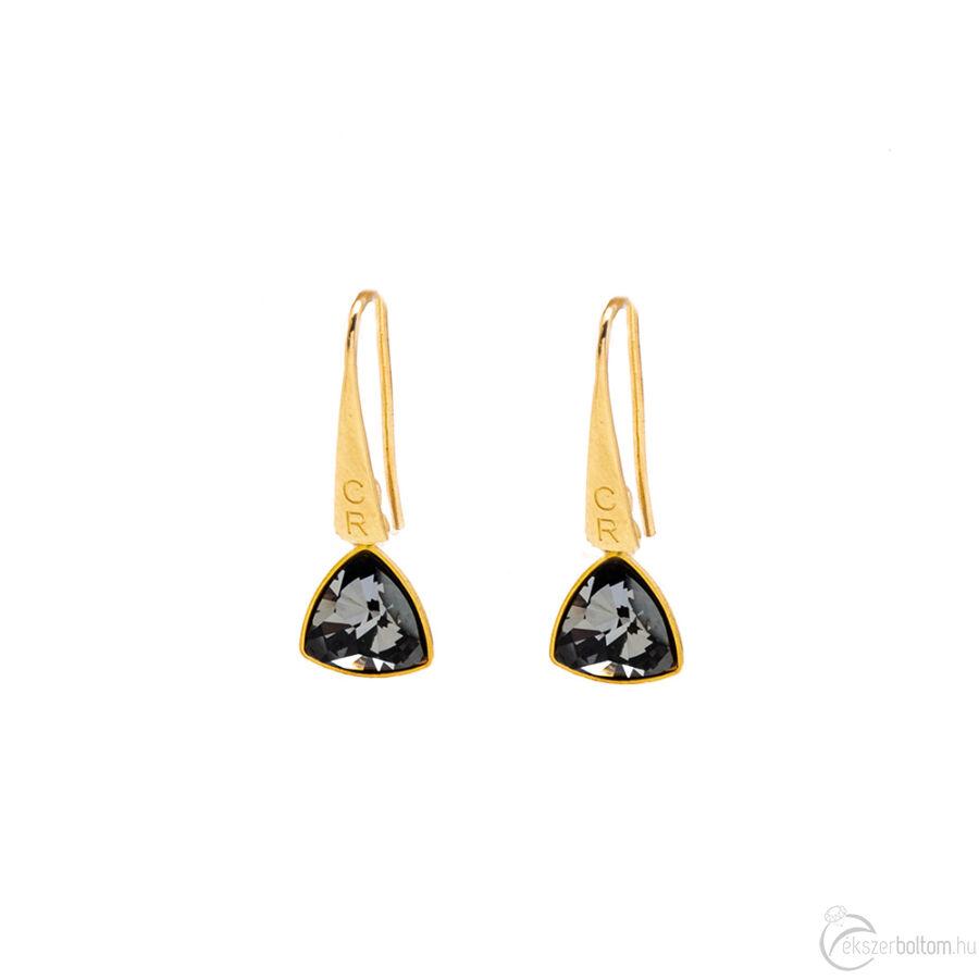 Cango & Rinaldi Triangle Black Diamond szín kis fülbevaló arany színű beakasztóval