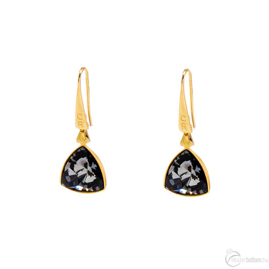 Cango & Rinaldi Triangle arany szín Black Diamond közepes fülbevaló arany színű beakasztóval