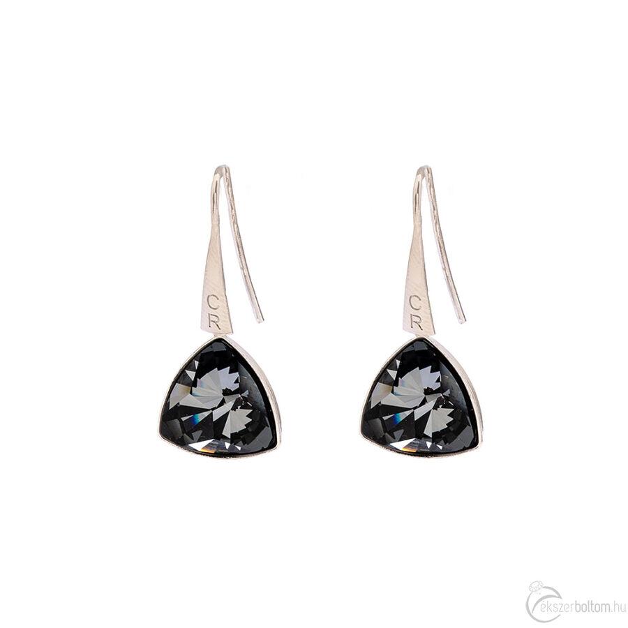 Cango & Rinaldi Triangle Black Diamond szín kristályos közepes fülbevaló ezust színű beakasztóval