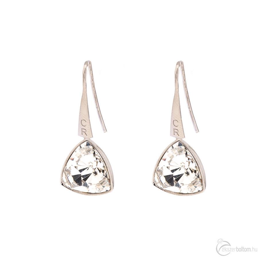Cango & Rinaldi Triangle fehér szín kristályos közepes fülbevaló ezüst színű beakasztóval