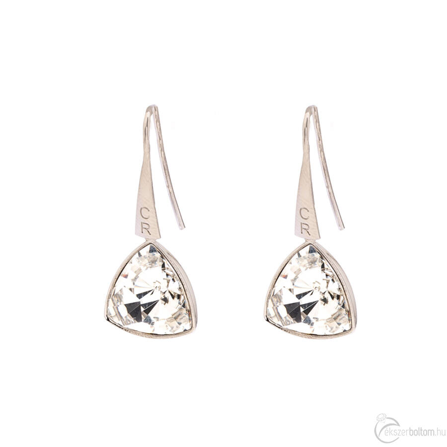 Cango & Rinaldi Triangle fehér szín kristályos közepes fülbevaló arany színű beakasztóval