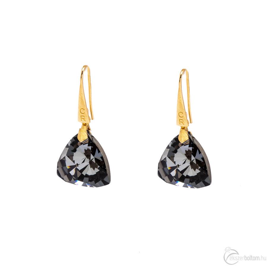 Cango & Rinaldi Triangle Black Diamond nagy fülbevaló arany színű beakasztóval