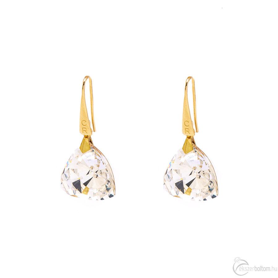 Cango & Rinaldi Triangle fehér szín kristályos nagy fülbevaló arany színű beakasztóval