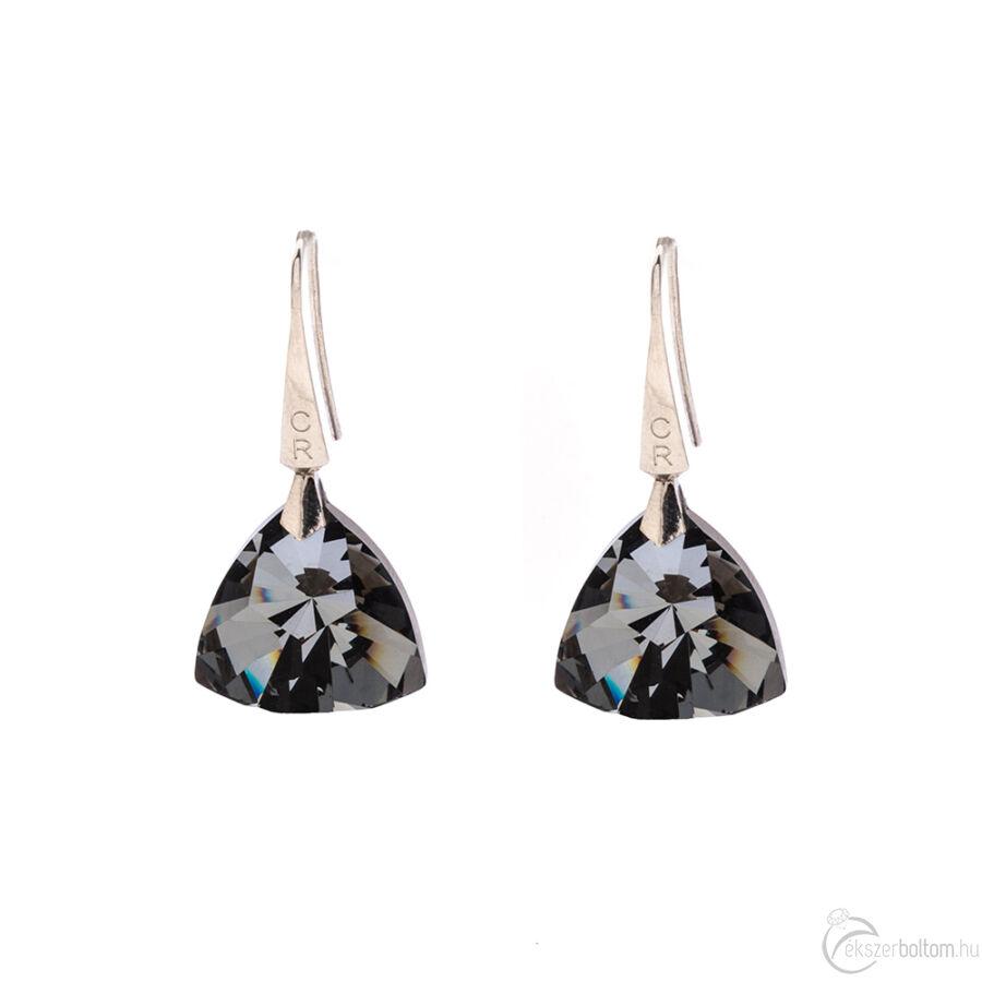 Cango & Rinaldi Triangle Black Diamond szín kristályos nagy fülbevaló arany színű beakasztóval