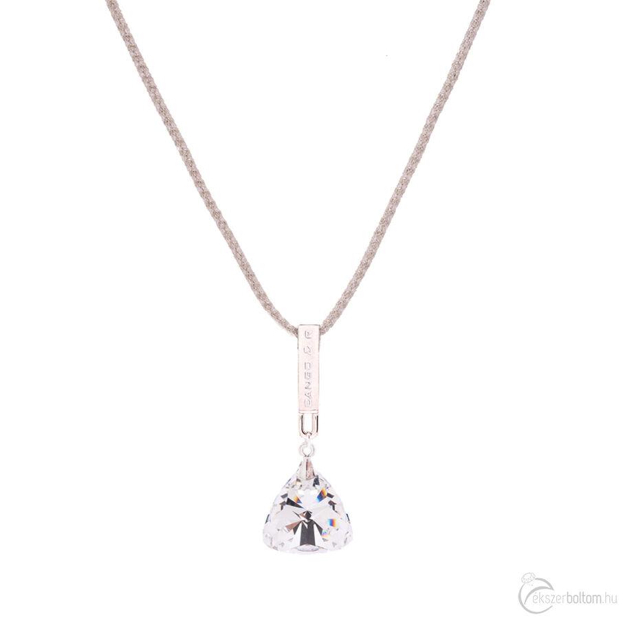 Cango & Rinaldi Triangle Mesh 1 züst színű nyaklánc ezüstszín fém dísszel és ezüst kristály kővel