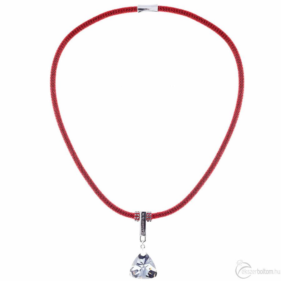 Cango & Rinaldi Triangle Mesh 3 ezüstszín fémdíszes, fehér kristály köves piros színű nyaklánc