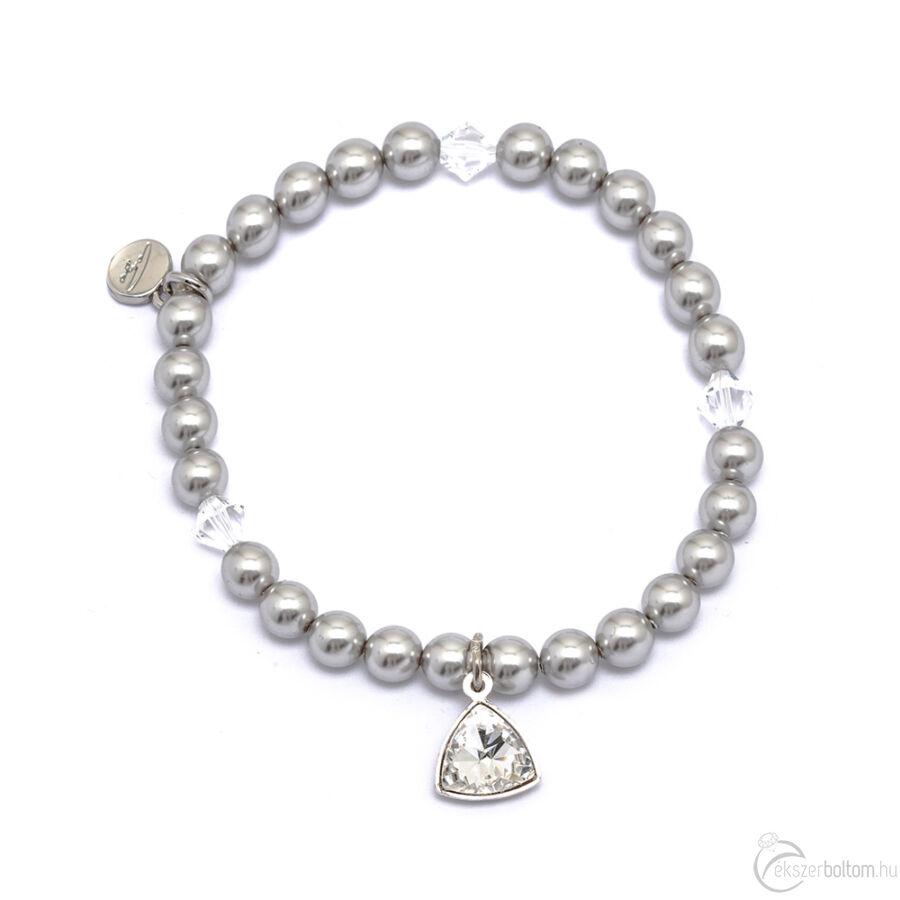 Cango & Rinadli Triangle Dark Grey gyöngyös karkötő fehér kövekkel és ezüstszín fémdísszel