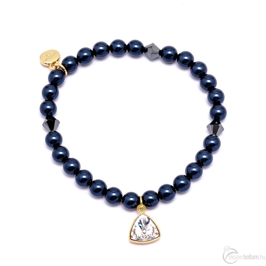 Cango & Rinadli Triangle Night Blue gyöngyös karkötő kristály (fehér) kövekkel és aranyszín fémdísszel