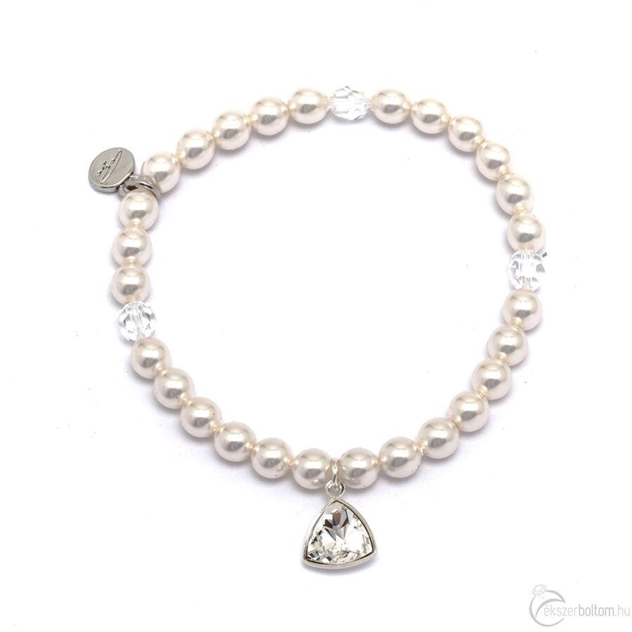 Cango & Rinadli Triangle Innocent White gyöngyös karkötő Black Diamond (fekete gyémánt) kövekkel és ezüstszín fémdísszel
