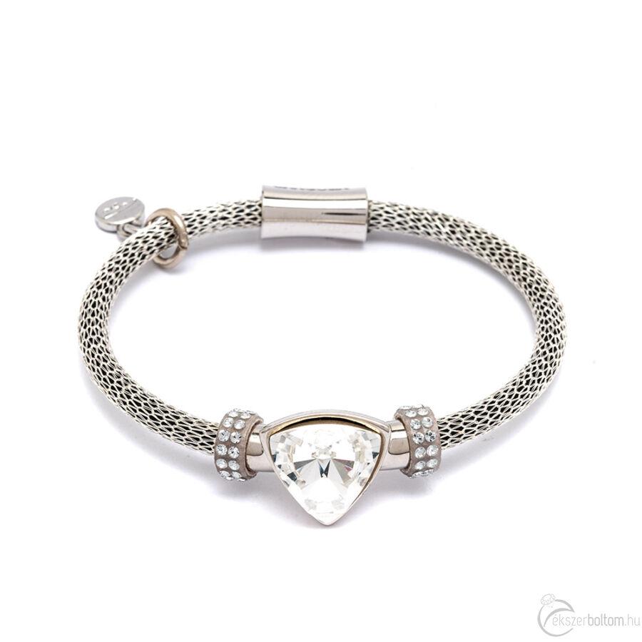 Cango & Rinaldi Triangle Mesh 3 ezüst színű karkötő ezüstszín fém dísszel és ezüst kristály kővel