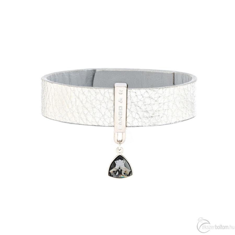 Cango & Rinaldi Triangle ezüst színű, Black Diamond kristályos karkötő