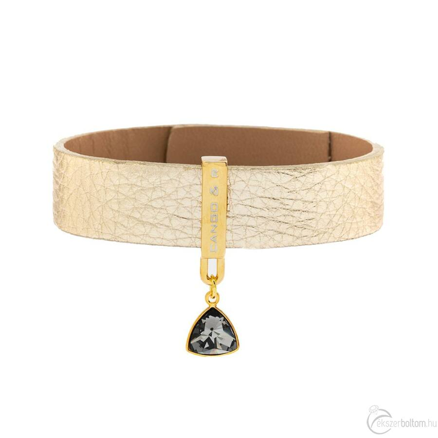 Cango & Rinaldi Triangle arany színű, Black Diamond kristályos karkötő