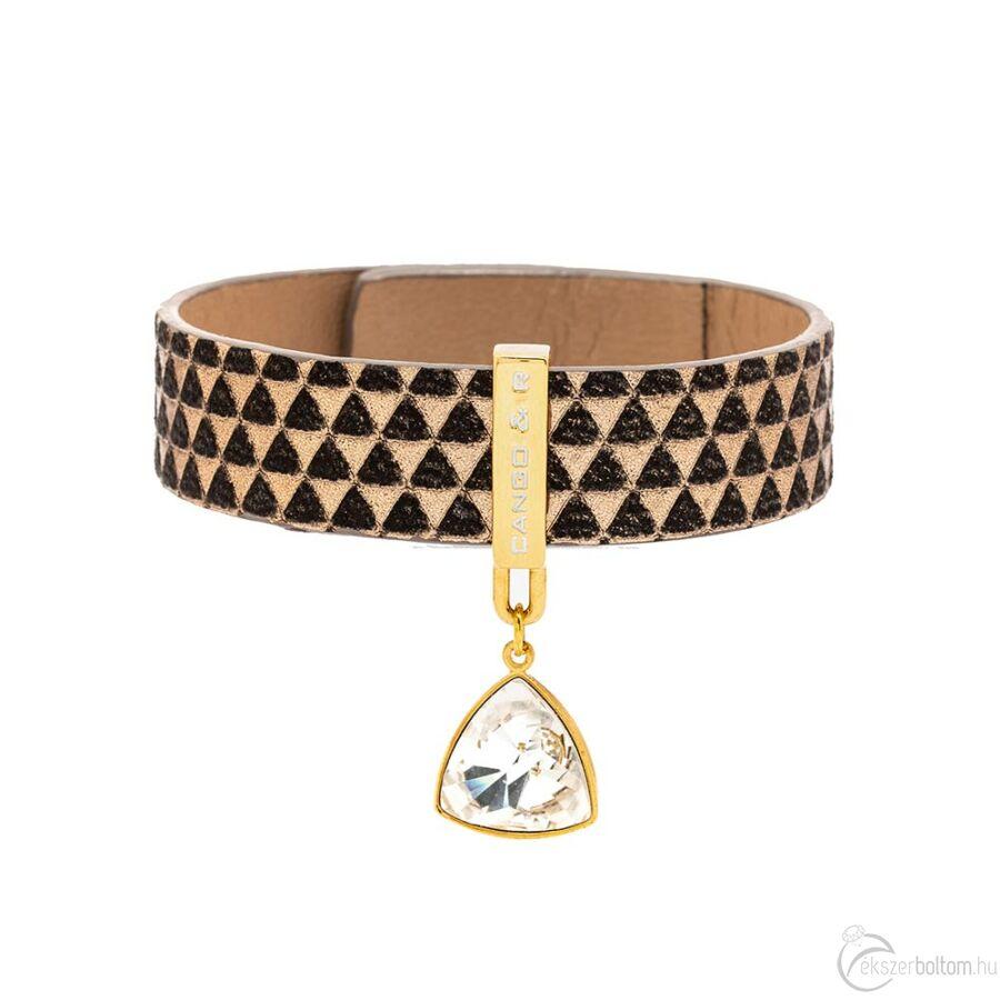 Cango & Rinaldi Triangle farkasfog mintás és arany színű, fehér kristályos karkötő
