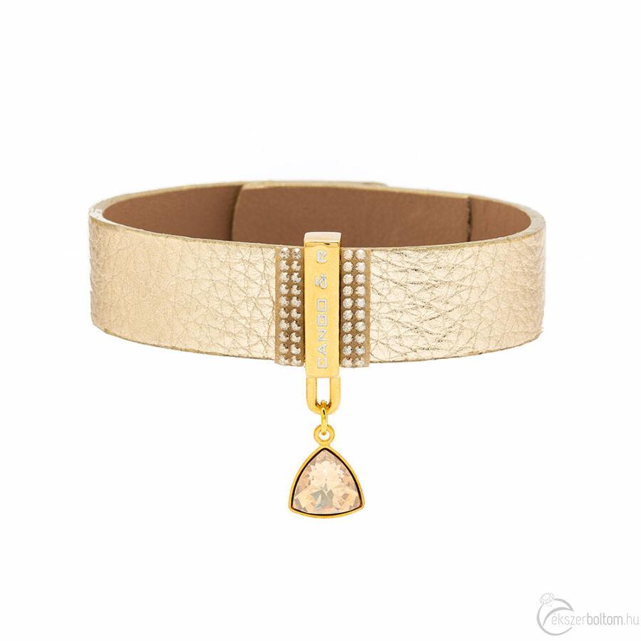 Cango & Rinaldi Triangle arany bőr karkötő arany fém résszel és szép óarany kristállyal