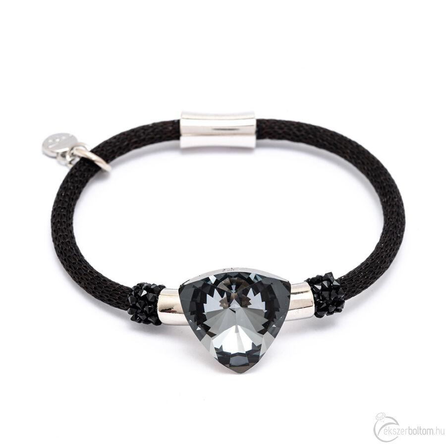 Cango & Rinaldi Triangle Big Mesh fekete színű karkötő ezüstszín fém dísszel, Black Diamond és Jet Black kristály kővel