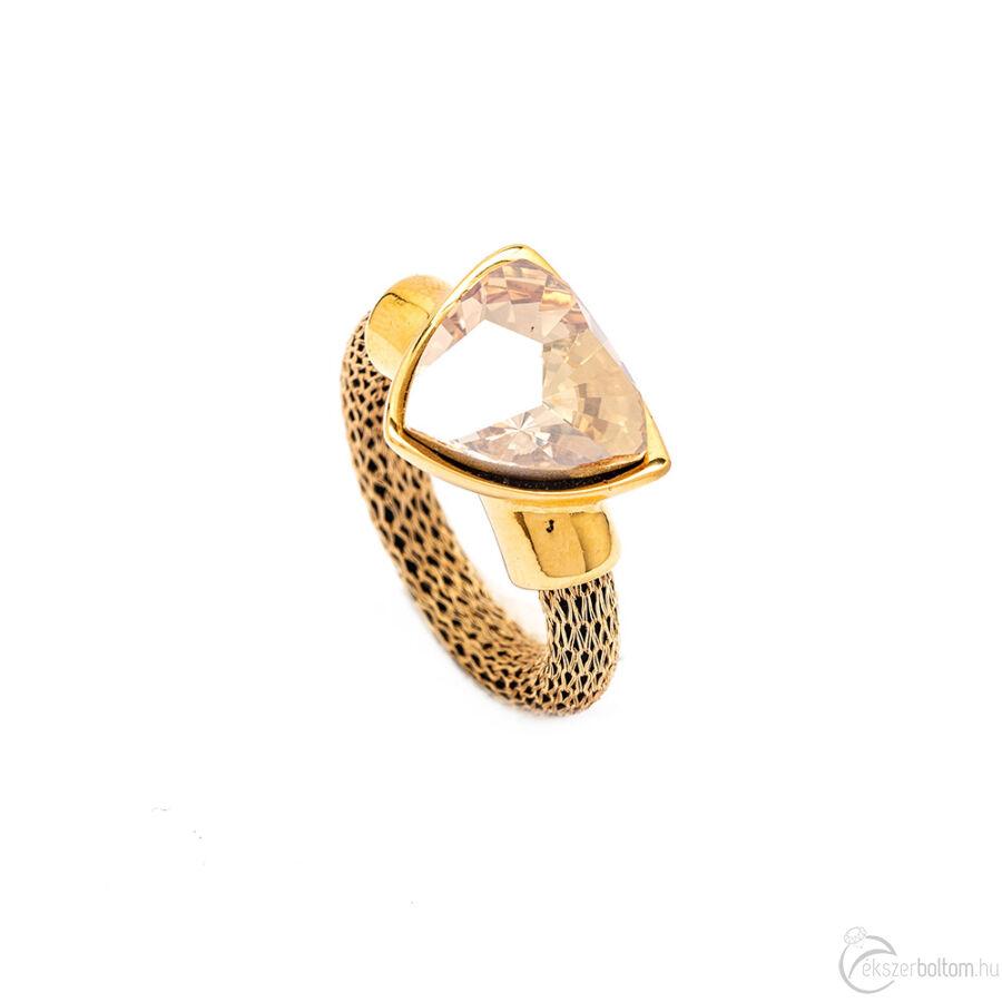 Cango & Rinaldi Triangle Mesh arany gyűrű közepes arany kővel