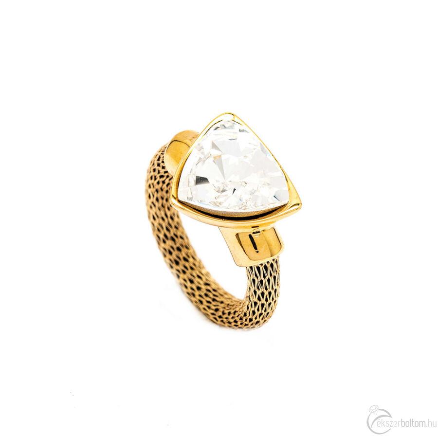 Cango & Rinaldi Triangle Mesh arany gyűrű közepes fehér kővel