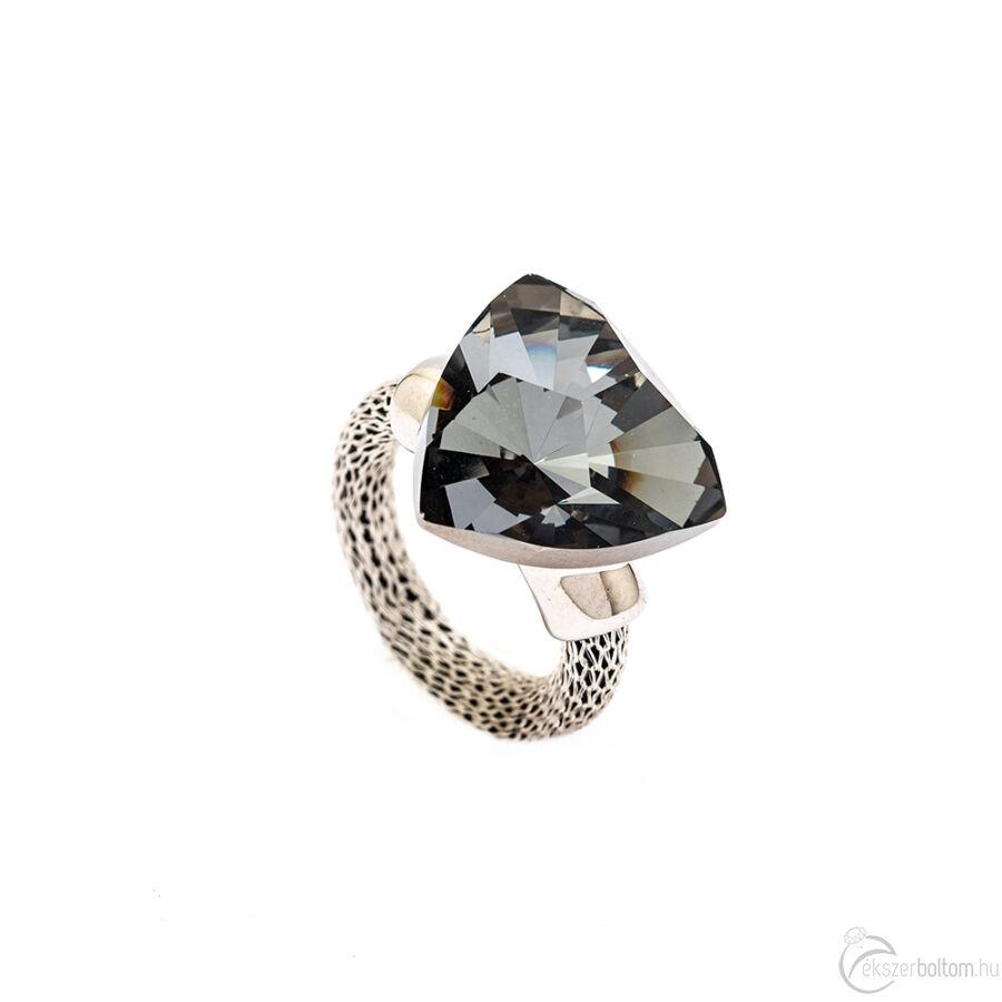 Cango & Rinaldi Triangle Mesh ezüst színű gyűrű nagy Black Diamond kővel