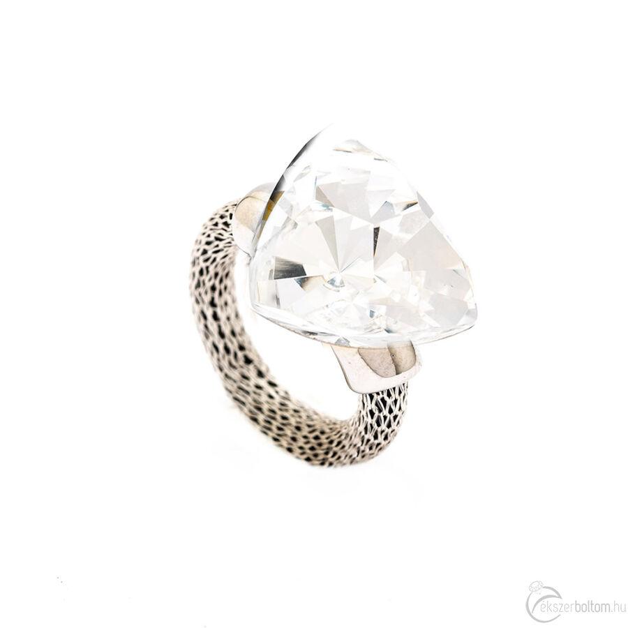 Cango & Rinaldi Triangle Mesh ezüst színű gyűrű nagy fehér kővel
